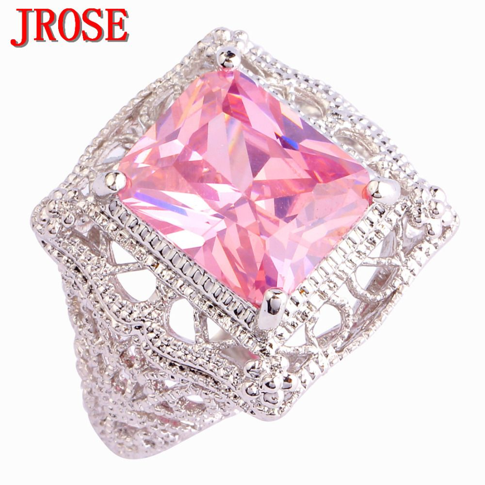 JROSE Hot Sale Solitaire Style Wedding Pink CZ Silver Color Ring ...