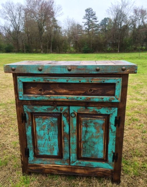 Attractive Handmade Reno Rustic Turquoise And Brown Stain Cabinet