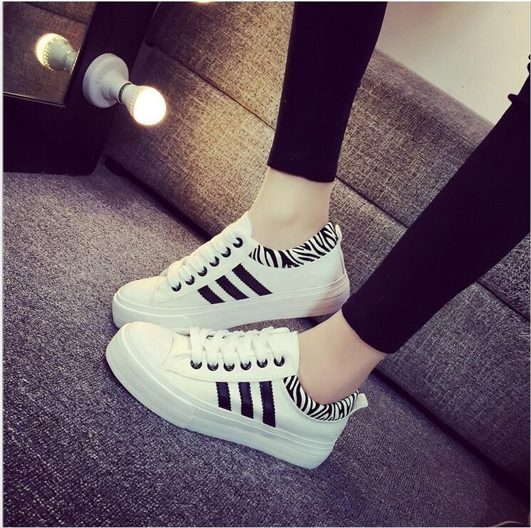 2016 Newest Women Fashion White Canvas Shoes Platform Flat Causal Shoes Fashion Sport Shoes Leisure Shoes for Girls Women Height Increasing Online with $29.57/Piece on Linwei156's Store | DHgate.com
