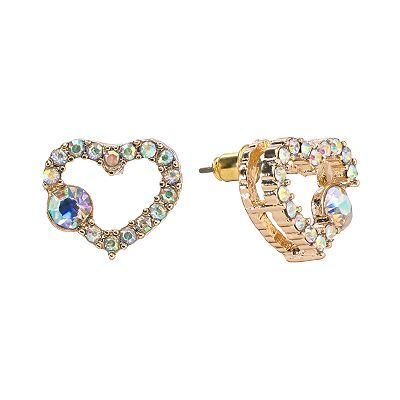 Candie's® Gold Tone Simulated Crystal Heart Stud Earrings