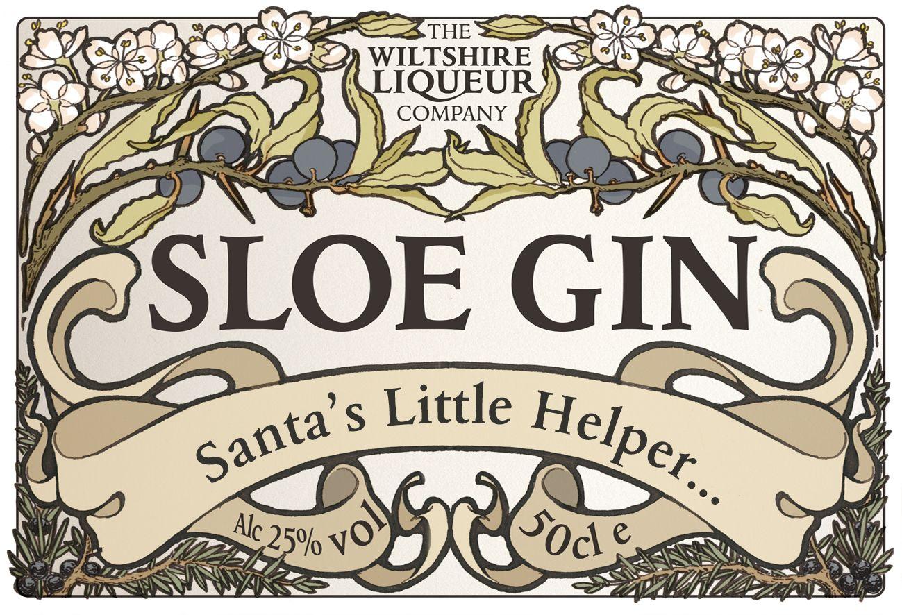 Christmas Gift Sloe Gin Liqueur Label - Santas Little ...