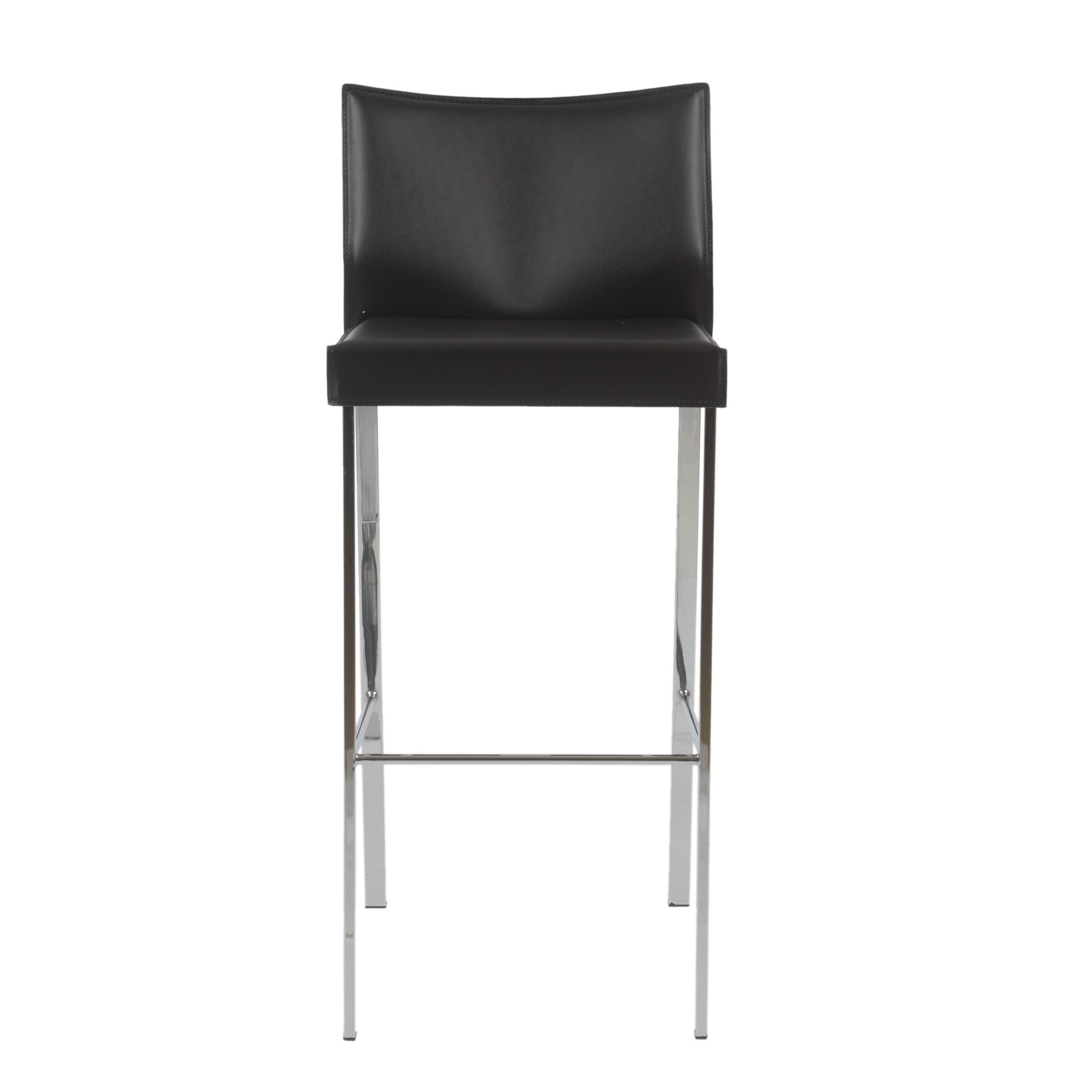Astonishing Riley 29 9 Inch Black Leather Chrome Bar Stool Set Of 2 Gmtry Best Dining Table And Chair Ideas Images Gmtryco