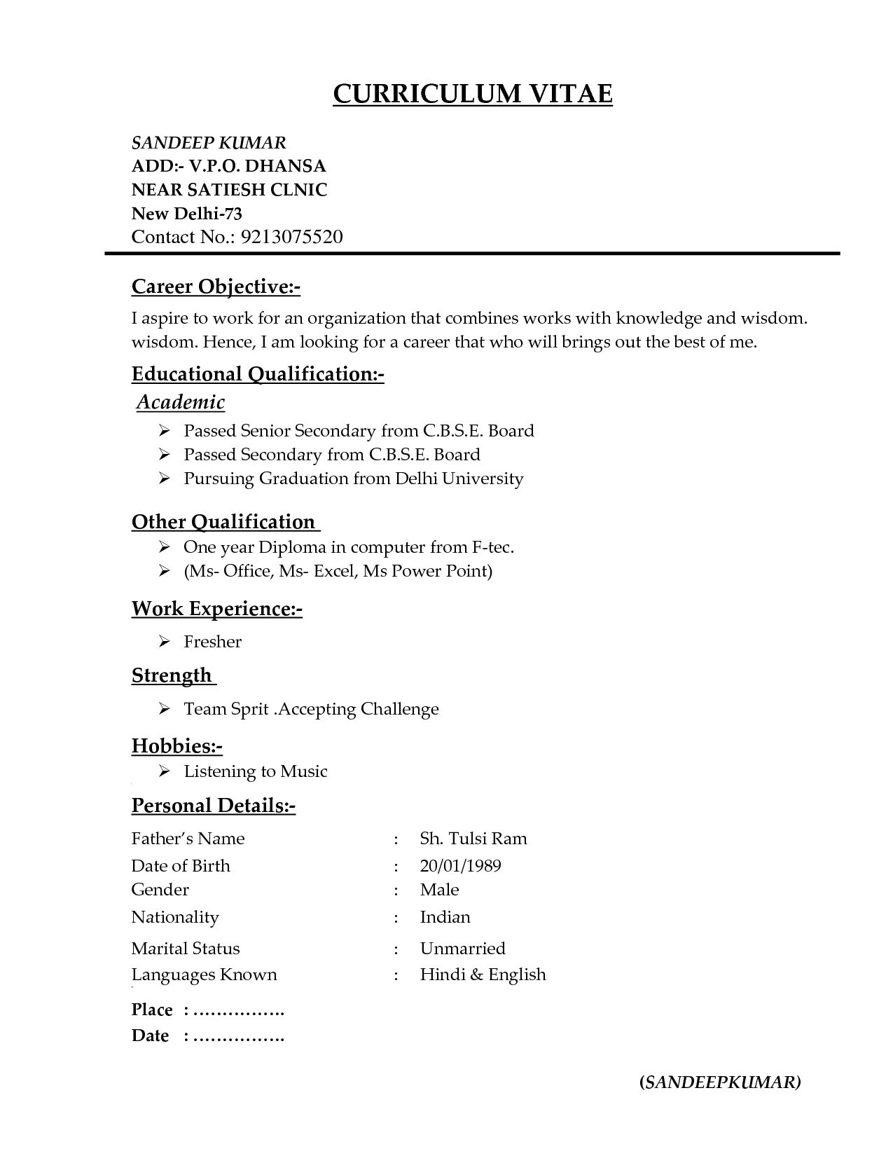 Resume Format For Freshers Pdf