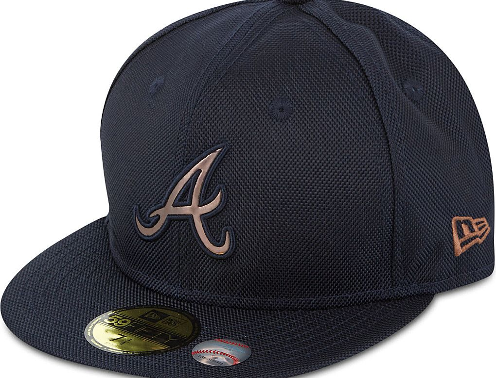 Atlanta Braves Chrome Badge 59fifty Fitted Baseball Cap By New Era X Mlb Fitted Baseball Caps Atlanta Braves Atlanta Braves Hat