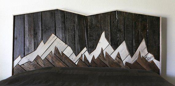 cabecera rústica, muebles rústicos, madera recuperada, muebles de dormitorio, cabecero único, muebles de palets, paisaje, muebles, arte de pared