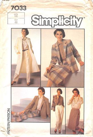 SIMPLICITY 7033 - FROM 1985 - UNCUT - MISSES GO-EVERWHERE PANTS, FRONT-WRAP SKIRT, BLOUSE AND UNLINED COAT OR JACKET