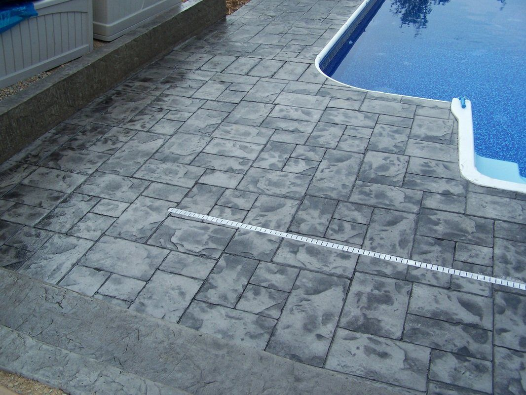 Stamped Concrete Pool Deck Ashlar Slate Color Natural Concrete