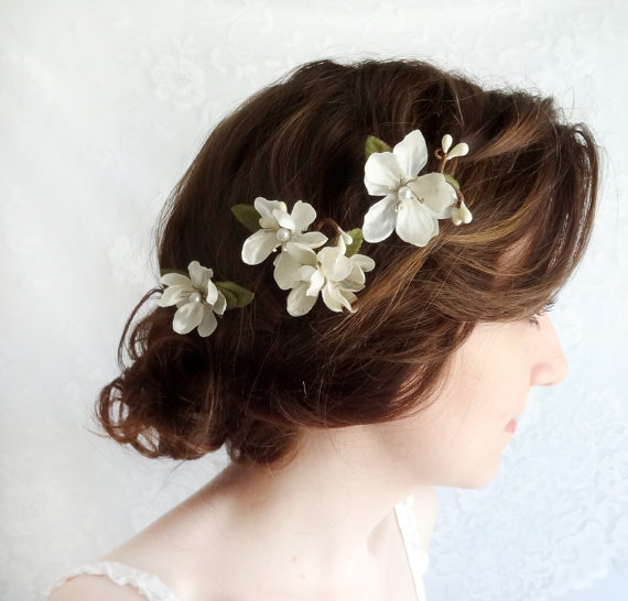 Off white flower hair pins bridal hair accessories wedding hair off white flower hair pins bridal hair accessories wedding hair clip netherfield ivory wildflower bobby pins rustic wedding accessory junglespirit Image collections