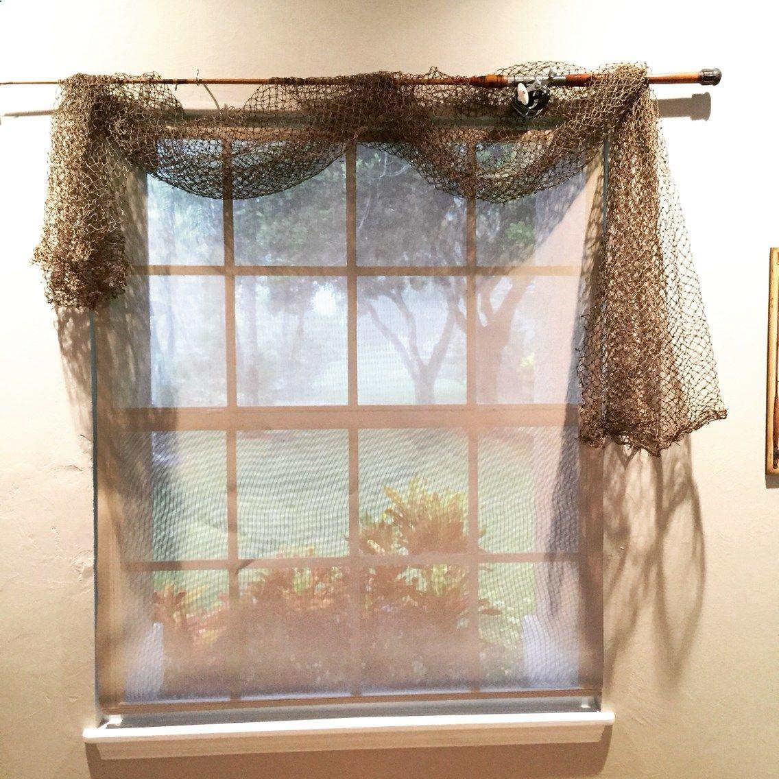 Fishing pole curtain rod fish net curtains fishing bedroom decor