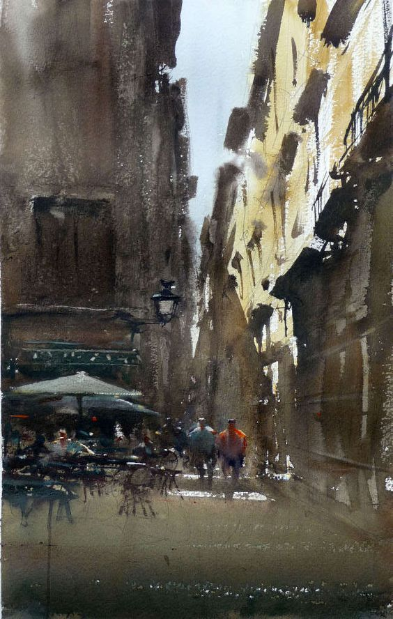Joseph Zbukvic B1952 Zagreb Croatia Watercolor Landscape Urban Landscape Watercolor Paintings
