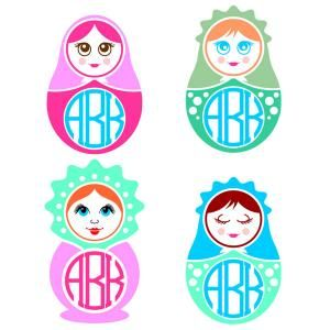 Matryoshka Doll Russian Round Circle Frame Monogram Cuttable Design Cut File. Vector, Clipart, Digital Scrapbooking Download, Available in JPEG, PDF, EPS, DXF and SVG. Works with Cricut, Design Space, Sure Cuts A Lot, Make the Cut!, Inkscape, CorelDraw, Adobe Illustrator, Silhouette Cameo, Brother ScanNCut and other compatible software.