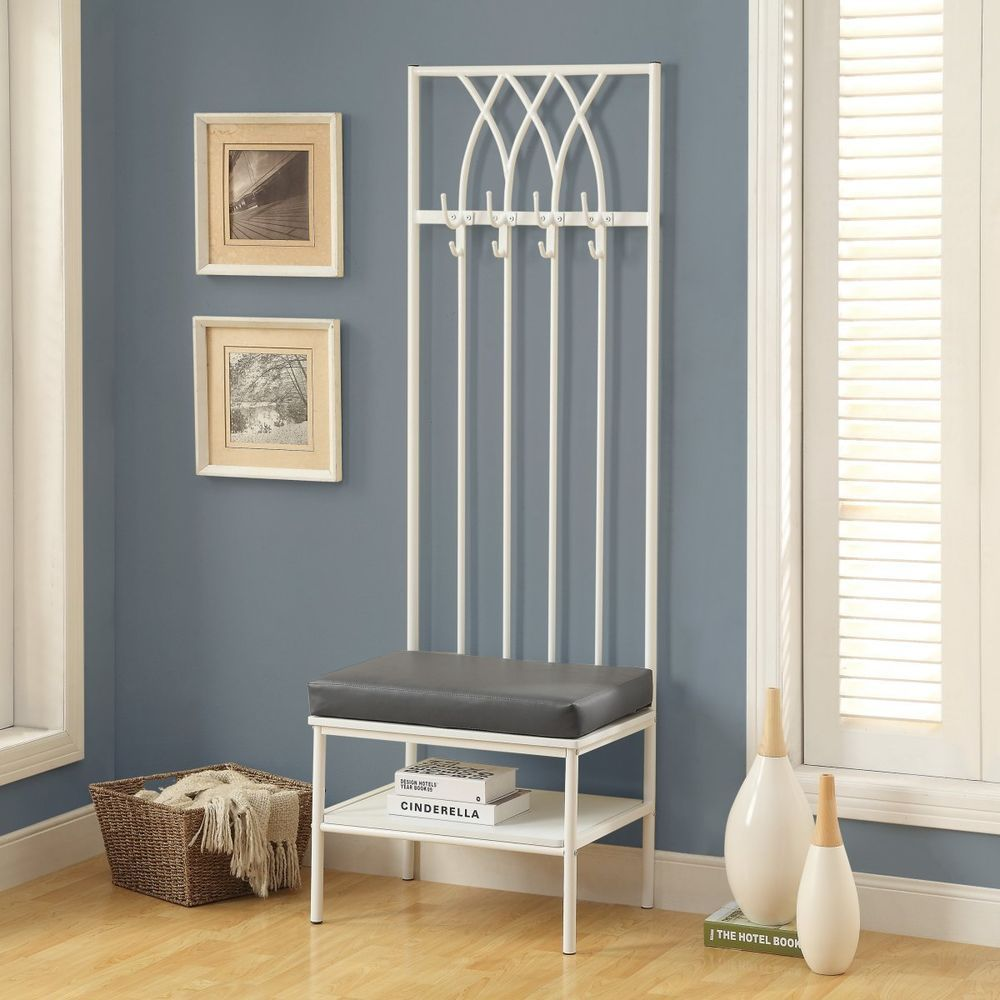 White Entryway Mini Hall Tree Coat Rack Stand Home Furniture Decor Storage  Bench #monarch