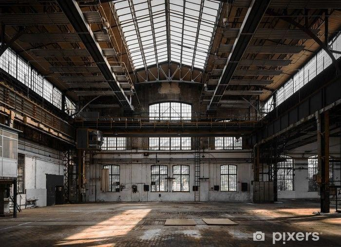 Industrial interior of an old factory Wall Mural • Pixers® - We live to change