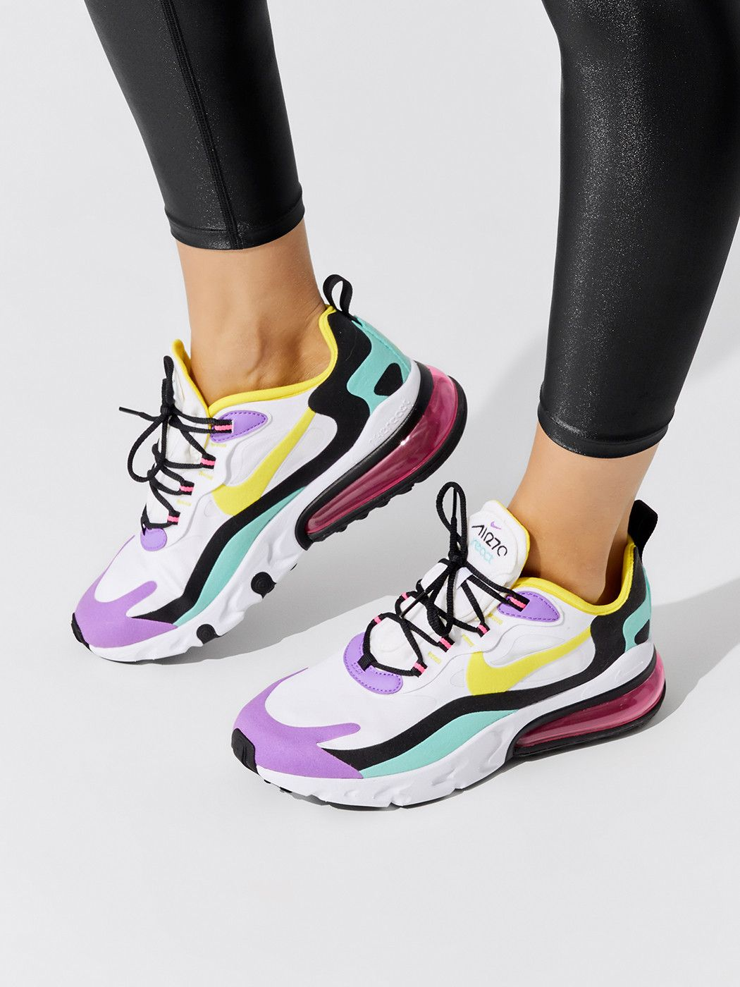 Air Max 270 React In White Dynamic Yellow Black Brt Violet Aurora