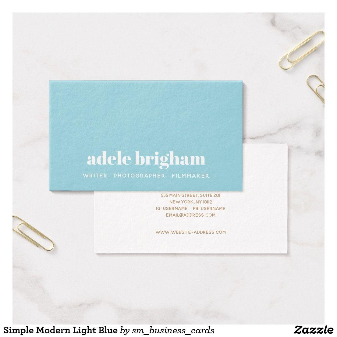 Simple modern light blue business card pinterest business cards simple modern light blue business card colourmoves