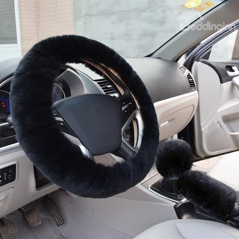 Glamorous Black Short Plush 3 Piece Steering Wheel Cover Black Plush Soft Steeringwheel Stee Steering Wheel Cover Car Steering Wheel Cover Steering Wheel