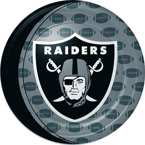 """Oakland Raiders Dinner Plates by Amscan. $3.61. 8 per package.. Football Plates. Package includes (8) 9"""" paper dinner plates."""