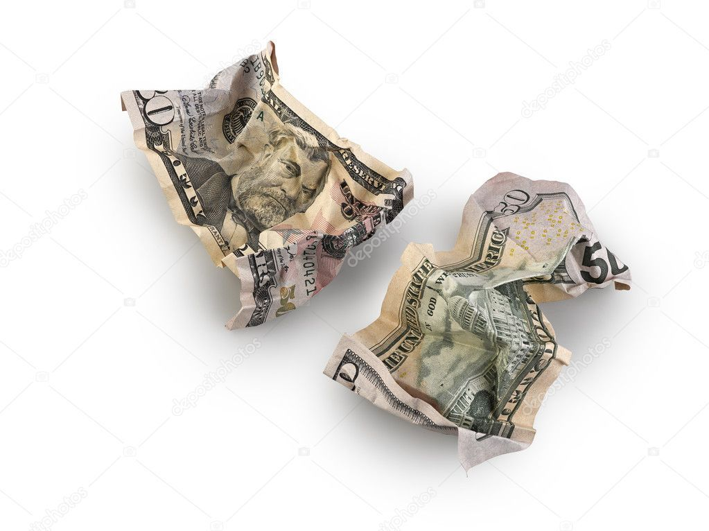Crumpled fifty dollar bill isolated stock photo ad