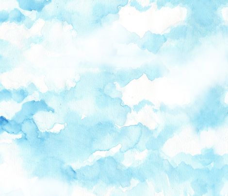Sky Watercolor Drawing Fabric By Katarina On Spoonflower
