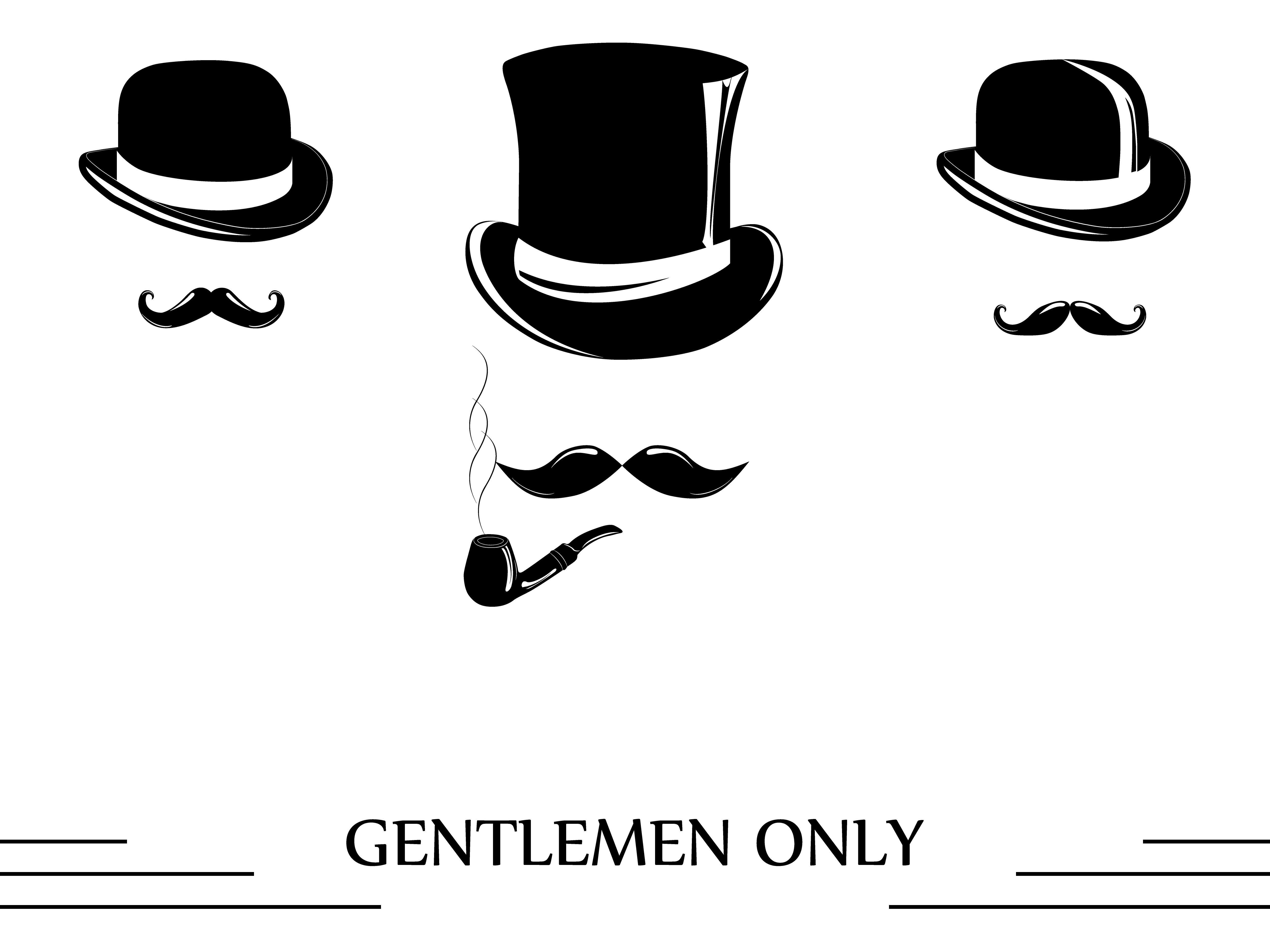 Vintage Gentlemen Elegance Logo Gentleman Gentlemen Hat Bowler Derby Top Hat Cylinder Headdress Headgear Gentleman Vintage Gentleman Moustache Style