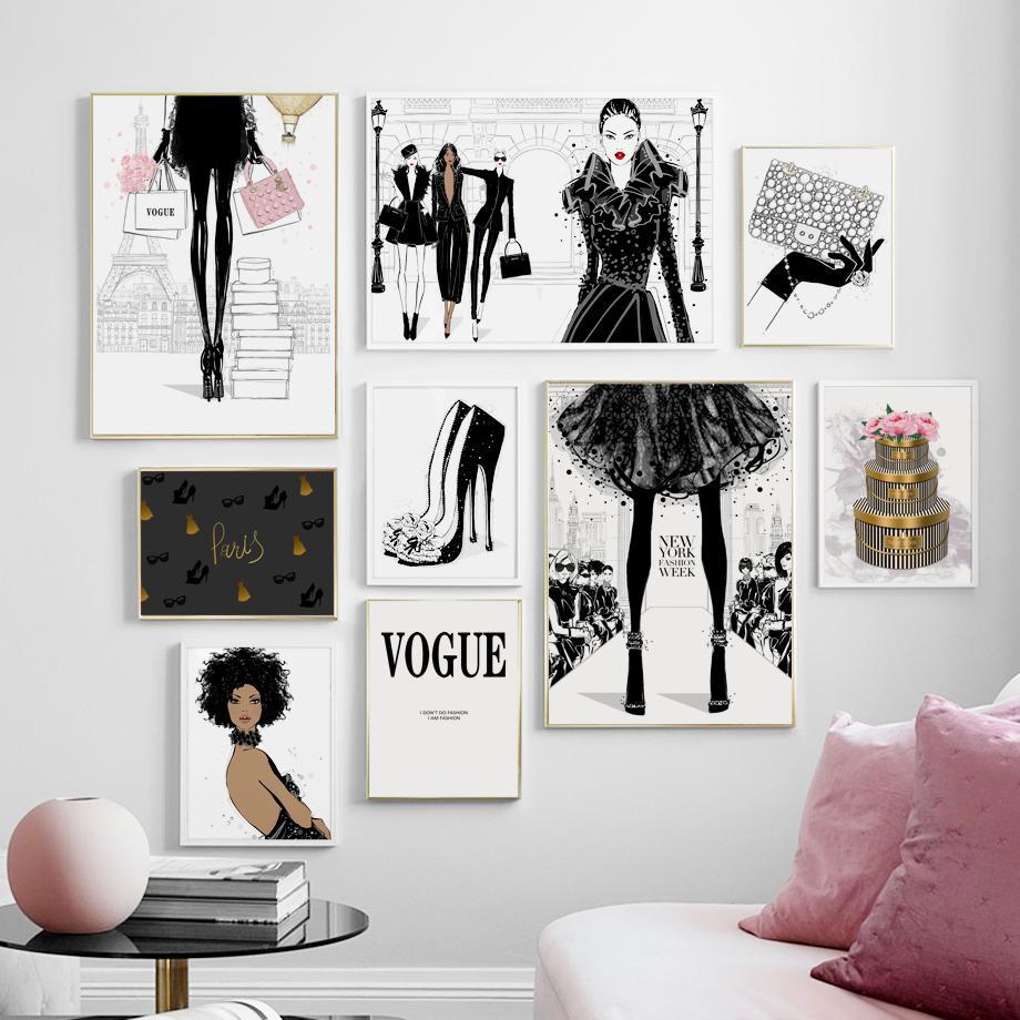 Paris Vogue Fashion Handbag Heels And Glamour Wall Art Fine Art Canvas Prints Nordicwallart Com Fashion Wall Decor Fashion Decor Bedroom Salon Wall Art