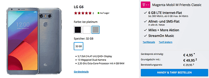Lg G6 Mit Vertrag Mit Dem Junge Leute Tarif Telekom Magenta Mobil M