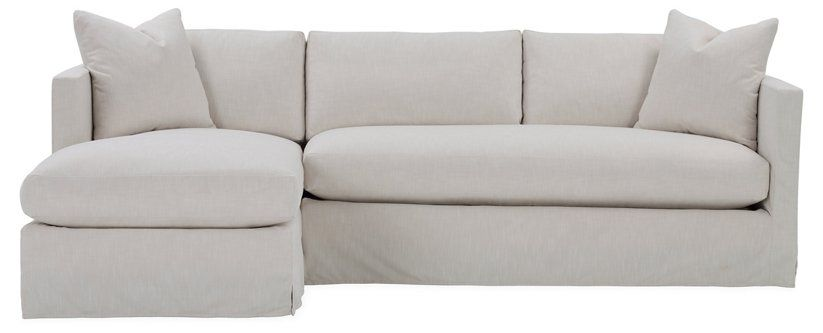 Shaw Left Bench Seat Sectional Ivory Crypton Sectional Fabric
