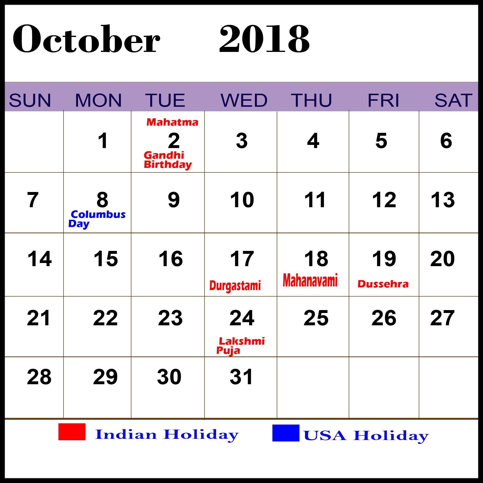 Printable October 2019 Calendar With Holidays With Notes Blank