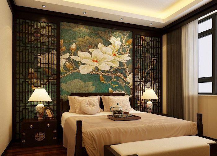 Schlafzimmer Deko Ideen Vom Orient, Arabischer Stil, Japanischer Stil,  Wanddeko Blumen, Jasmin