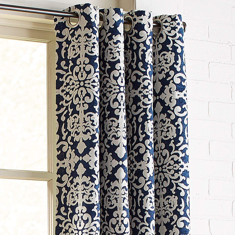 Chenille Damask Navy 96 Grommet Curtain Living Room Decor