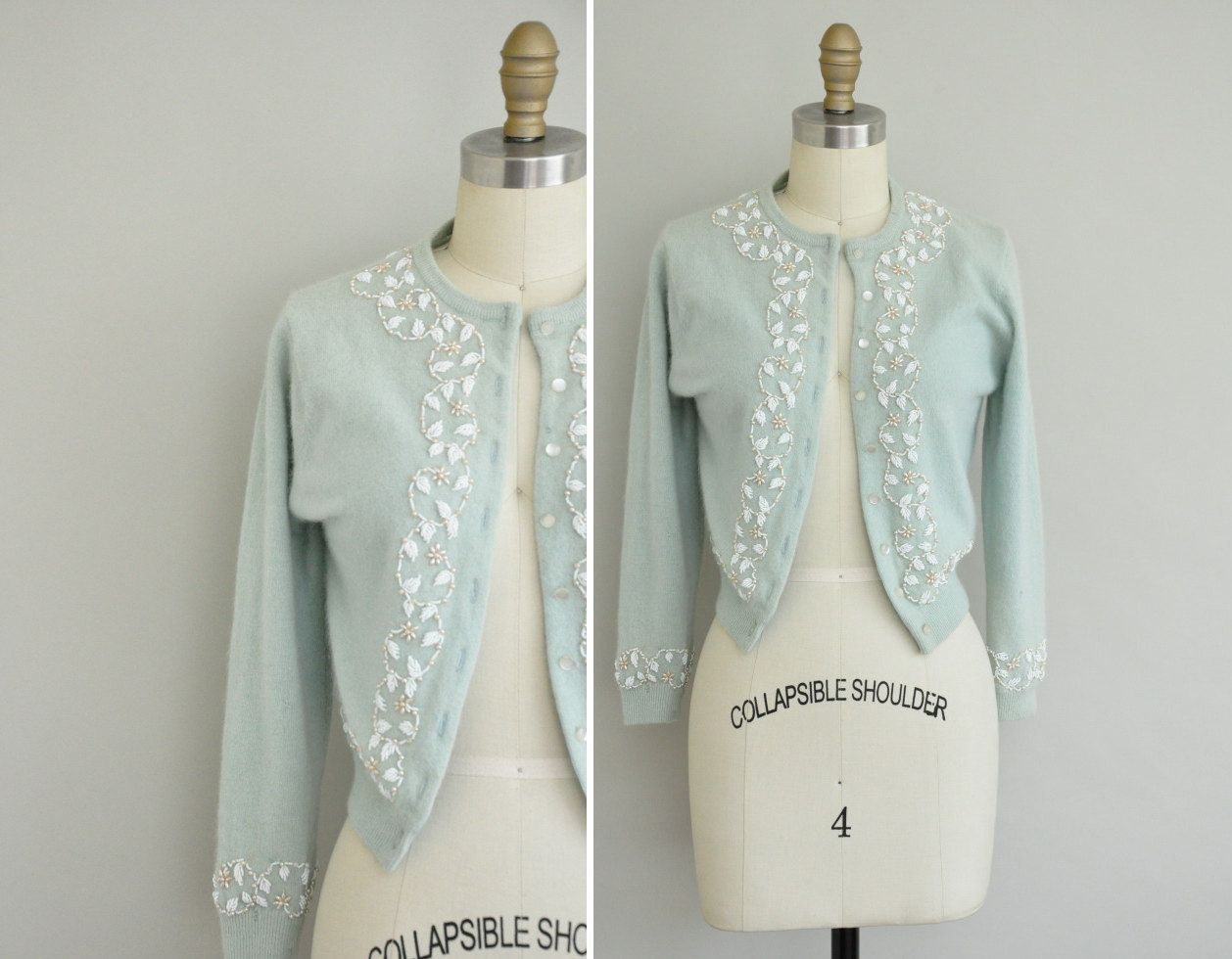 1950s mint green cashmere sweater / 50s bombshell beaded sweater ...