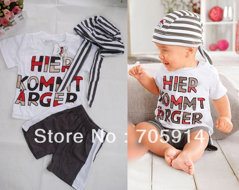 Retail sales  baby boyssuit  hat t shirt pants kids summer clothing sets free shipping No.254