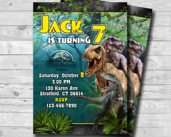 Jurassic World Invitation Birthday Jurrasic Park Party Jura