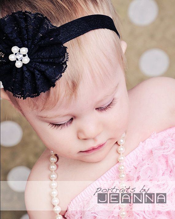 Black Lace Flower Headband
