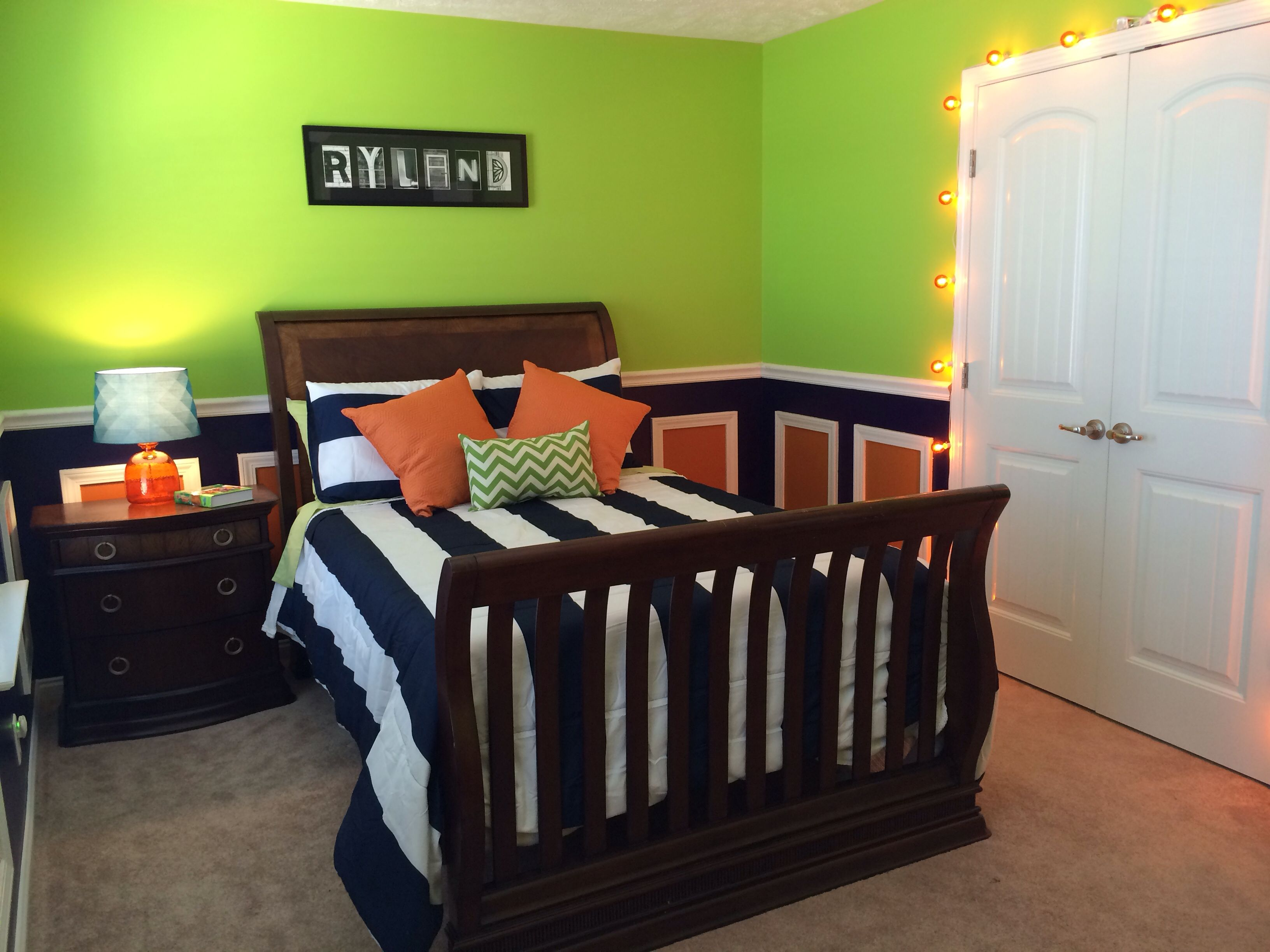 Lime green, navy and orange toddler boys room. I'm LOVING our finished