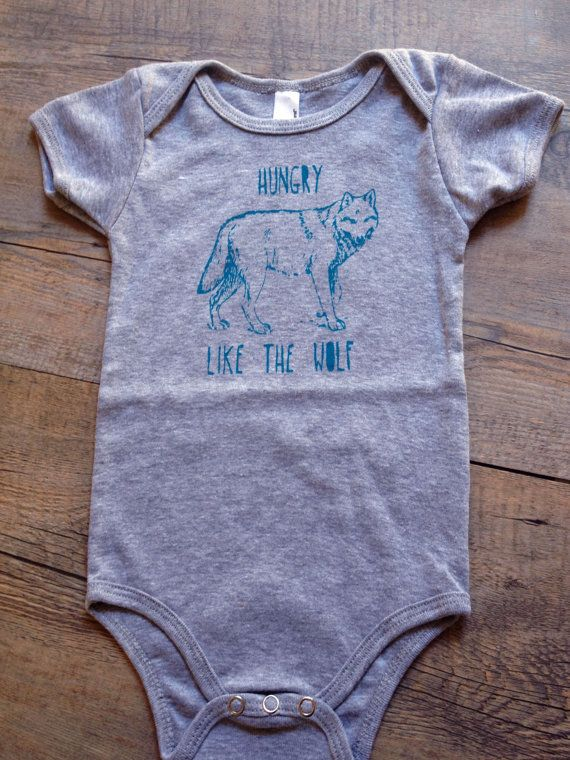 Awesome 80s Style Screen Print Baby Onesie Bodysuit ,Hungry