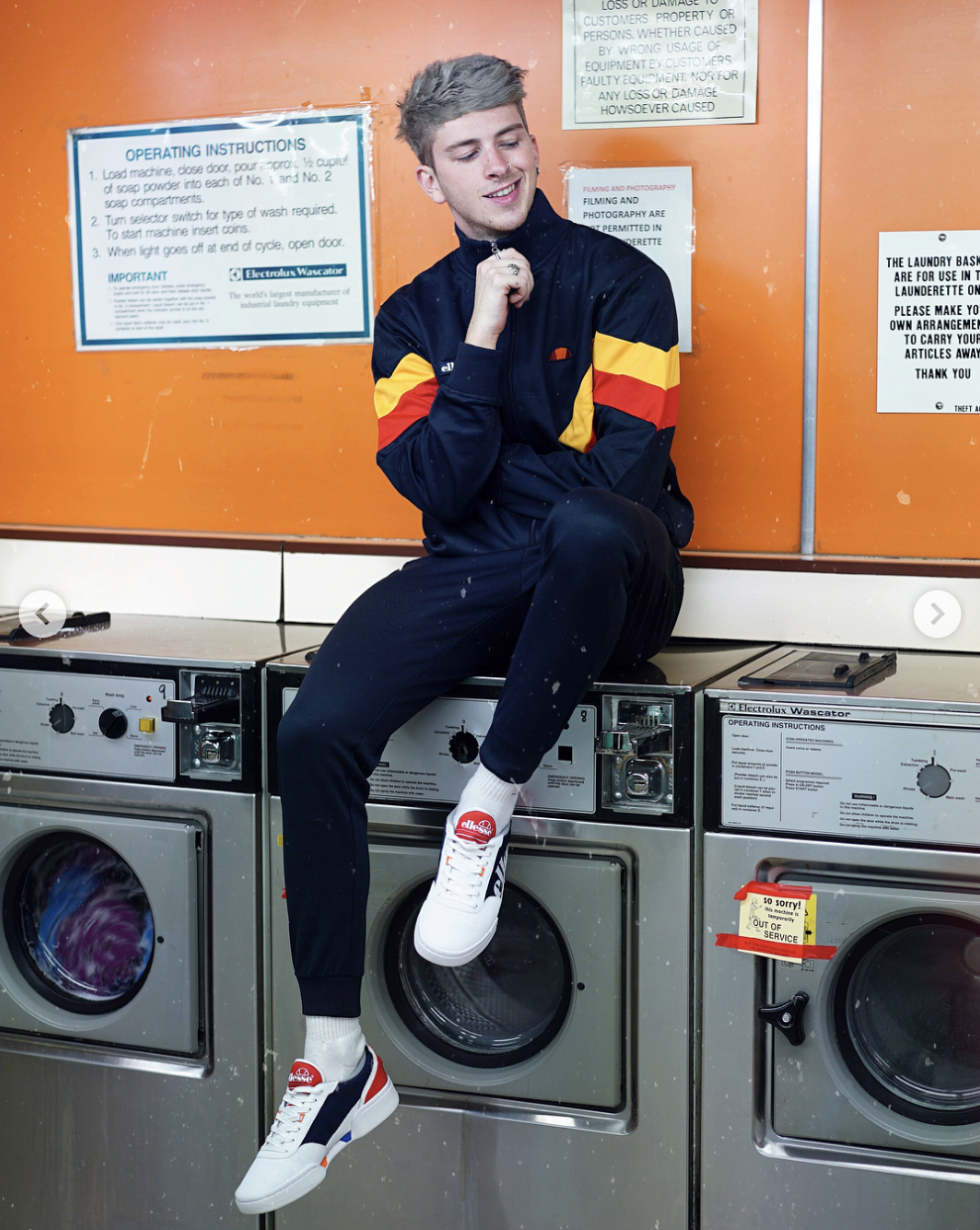 How To Cop The 80s Sportswear Look With Gallucks Wearing Ellesse Tracksuit Mens Street Style 80s Fashion Men Mens Outfits