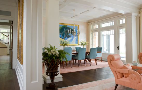 Colorful living room and open dining room  SLC INTERIORS - Interior Design - Oyster Harbors Dining Room