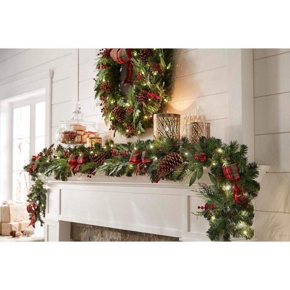 Home Accents Holiday 9 Ft Battery Operated Pre Lit Led Artificial Christmas Garland Chzh3811602th5 Christmas Greenery Holiday Garland
