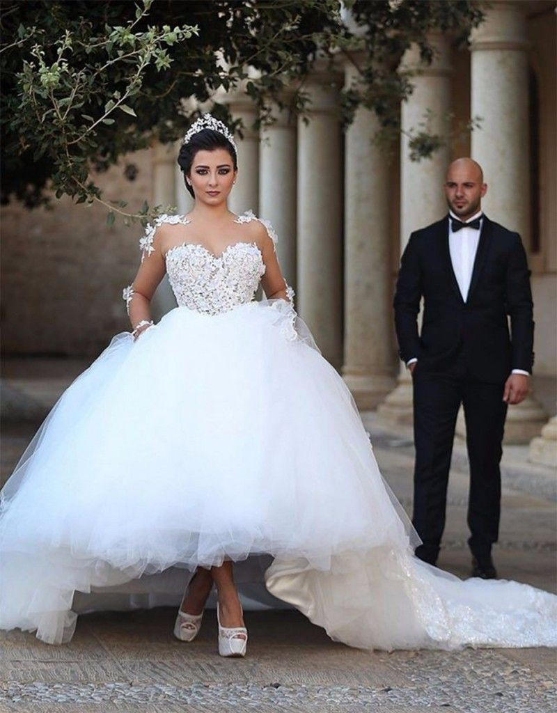 Ball gown wedding dress with sleeves  Luxury Wedding Dresses Long Flowers Lace Appliques Tulle Sheer Long
