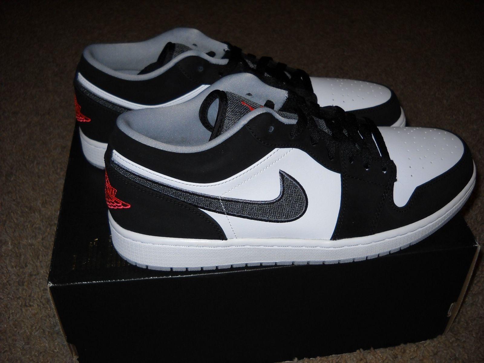3188b654155559 Nike Air Jordan 1 Low Black Infrared 23 White Wolf Gray (553558 029) Men s  11.5