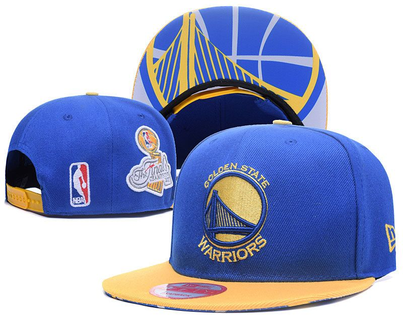 Men s   Women s Golden State Warriors 9Fifty Blue   Gold 2017 NBA Finals  Champions Side Patch Snapback Hat 574982f0dd