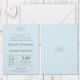 modern pale blue and charcoal wedding invitation printed on luxe
