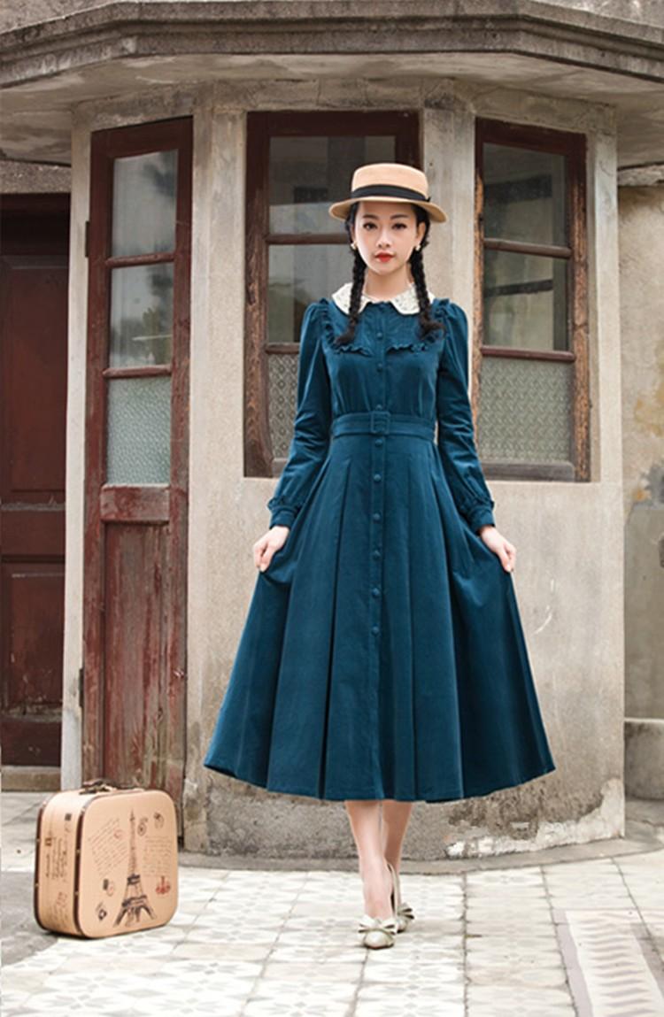 2017 Autumn Winter Women dress Vintage Retro Peter Pan Collar Elegant Long Sleeve Belt Midi Dresses Tunic Vestidos|women dress vintage|women dress|midi dress - AliExpress 1