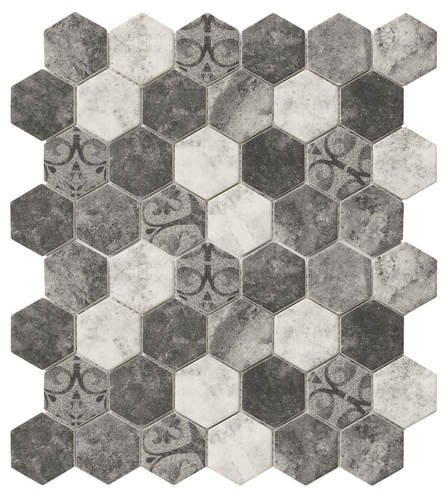Best Recycled Hexagon Glass Tile Ancient Grey Tuscan 400 x 300