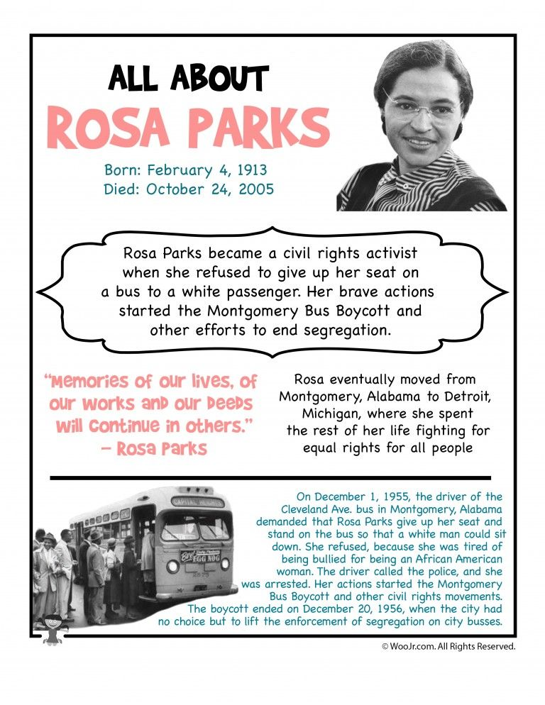 Rosa Parks Day Printables Rosa Parks Facts Rosa Parks Rosa