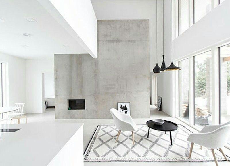 A Faux Concrete Wall Interior Interior Design Scandinavian Home