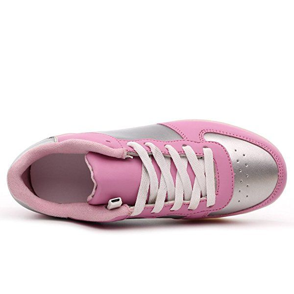 KaLeido Warm Velvet Lining USB Charging 7 Colors LED Shoes Flashing Fashion Sneakers Light Up Sport Shoes (7.5 B(M) US Women/5 D(M) US Men, Pink)
