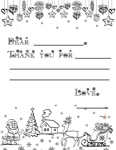 3 Free Printable Christmas Thank You Notes for Kids Free - free thank you card template for word