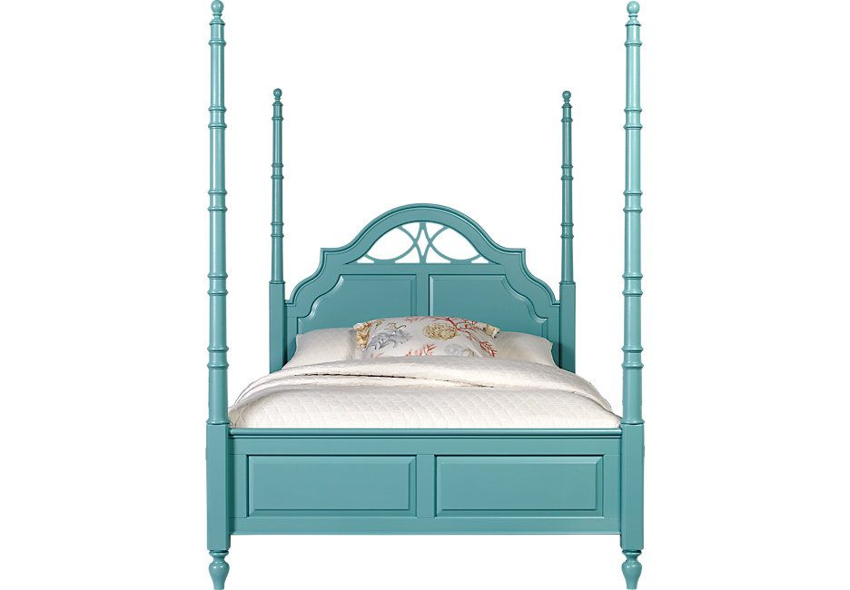 Cindy Crawford Home Seaside Bluegreen 4 Pc Queen Poster Bed Kids